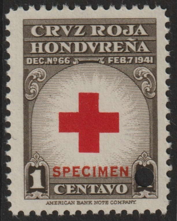 Honduras 1945 Obligatory Tax - Red Cross 1c red & brown unmounted mint optd SPECIMEN with security punch hole (ex ABN Co archives) SG 456a*