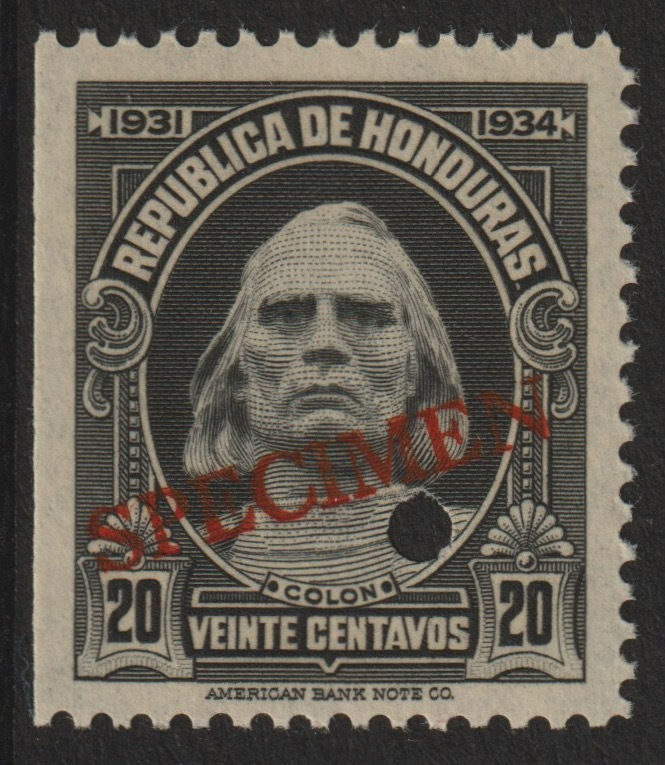 Honduras 1931 Columbus 20c optd SPECIMEN (20mm x 3mm) with security punch hole (ex ABN Co archives) unmounted mint SG 325
