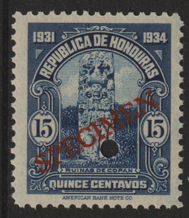Honduras 1931 Ruins at Copan 15c unmounted mint optd SPECIMEN (20mm x 3mm) with security punch hole (ex ABN Co archives) SG 324
