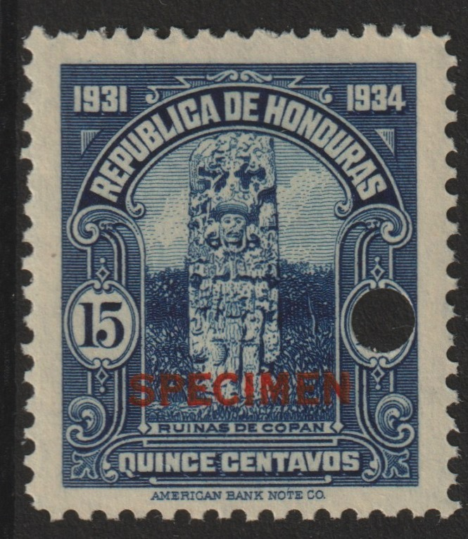 Honduras 1931 Ruins at Copan 15c unmounted mint optd SPECIMEN (13mm x 2mm) with security punch hole (ex ABN Co archives) SG 324