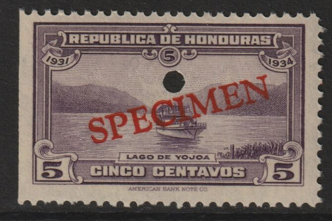 Honduras 1931 Boat on Lake Yojoa 5c unmounted mint optd SPECIMEN (20mm x 3mm) with security punch hole (ex ABN Co archives) SG 321