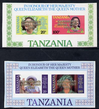 Tanzania 1985 Two Queen Mother proof m/sheets (SG MS 429) each with
