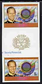 Lesotho 1981 Duke of Edinburgh Award Scheme 6s Duke & Flags imperf gutter pair from  Duke of Edinburgh Award set, unmounted mint SG 462var