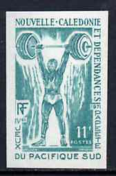 New Caledonia 1971 South Pacific Games 11f Weight Lifting unmounted mint imperf colour trial proof (several different combinations available but price is for ONE) as SG 4...