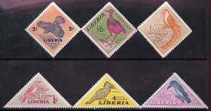 Liberia 1953 Birds perf set of 6 (Triangular & Diamond shaped) unmounted mint SG 735-40
