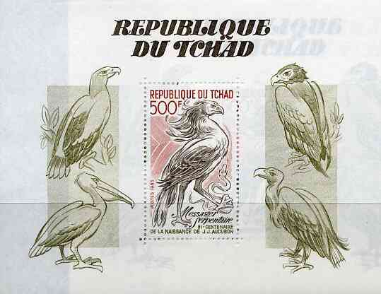 Chad 1985 Birth Bicentenary of John Audubon (Birds) unmounted mint m/sheet, SG MS 798, stamps on birds    audubon     stork     secretary     snakes, stamps on snake, stamps on snakes, stamps on