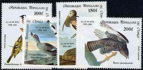 Congo 1985 Birth Bicentenmary of John Audubon (Birds) perf set of 4 unmounted mint, SG 985-88