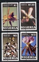 Nigeria 1993 Orchids set of 4 values each grossly mis-perforated (stamps are quartered) unmounted mint*