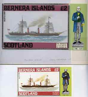 Bernera 1979 Rowland Hill (Ships - Paddle Steamer Scotia) - Original artwork for deluxe sheet (\A32 value) comprising coloured illustration on board (205 mm x 110 mm) wit...