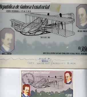 Equatorial Guinea 1979 Flight Anniversary of Wright Brothers - Original artwork for m/sheet (300ek value showing Wright Flyer) comprising coloured illustration on board (...