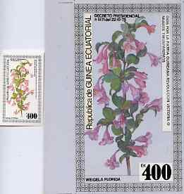 Equatorial Guinea 1979 Flowers (Weigela) - Original artwork for m/sheet (400ek value) comprising coloured illustration on board (105 mm x 190 mm) with overlay, plus issue...