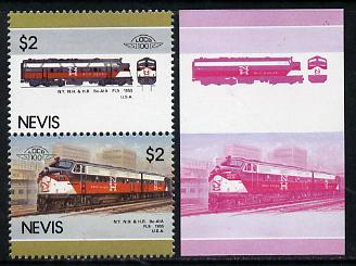 Nevis 1986 Locomotives #5 (Leaders of the World) New Haven Diesel Loco $2 unmounted mint se-tenant imperf proof pair in magenta & blue, plus normal issued stamp (SG 358-9)