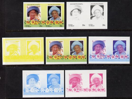 Tuvalu - Nanumea 1985 Life & Times of HM Queen Mother (Leaders of the World) 30c unmounted mint set of 7 se-tenant imperf progressive proof pairs comprising the 4 individual colours, plus 2, 3 & all 4 colour composites