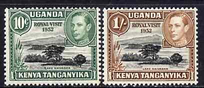 Kenya, Uganda & Tanganyika 1952 Royal Visit opt on Lake Naivasha unmounted mint set of 2, SG 163-64*