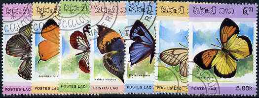 Laos 1986 Butterflies complete set of 7 fine cto used, SG 883-89*
