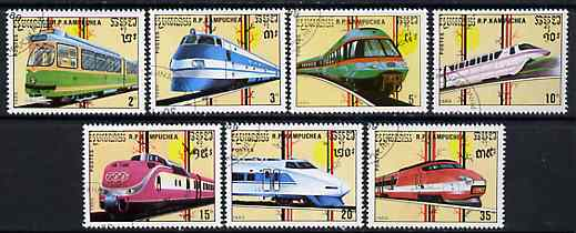 Kampuchea 1989 Trams & Trains complete set of 7 fine cto used, SG 960-66*