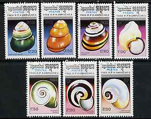 Kampuchea 1988 Sea Shells complete set of 7 fine cto used, SG 915-21*