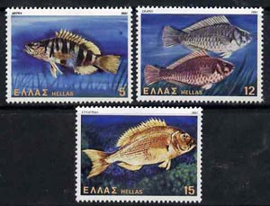 Greece 1981 Fish set of 3 from Shells, Fishes, & Butterflies set, SG 1560-62