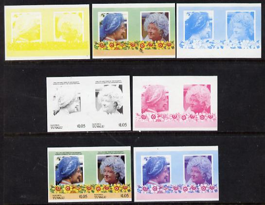 Tuvalu - Nanumea 1985 Life & Times of HM Queen Mother (Leaders of the World) $1.05 unmounted mint set of 7 se-tenant imperf progressive proof pairs comprising the 4 individual colours, plus 2, 3 & all 4 colour composites
