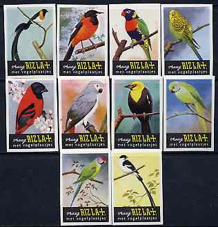 Match Box Labels - complete set of 10 Birds, very fine unused condition (Rizla)