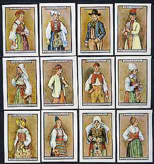 Match Box Labels - complete set of 12 Swedish Costumes (brown background) very fine unused condition (Swedish)