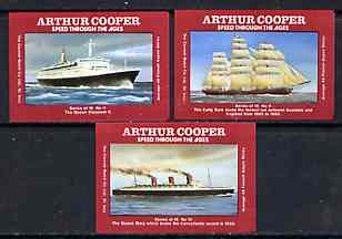 Match Box Labels - Ships set of 3 (QE2, Queen Mary & Cutty Sark) from 'Speed Through The Ages' set of 18, superb unused condition (Arthur Cooper Series)