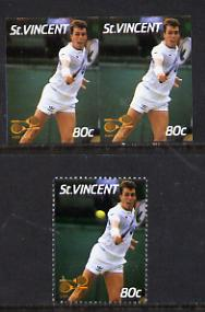 St Vincent 1987 International Tennis Players 80c (Ivan Lendl) unmounted mint imperf horiz pair with ball omitted nice double variety (plus normal single) SG 1059var*