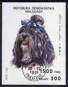 Malagasy Republic 1991 Dogs imperf m/sheet (Shihtzu) cto used, SG MS 861, Mi BL 157