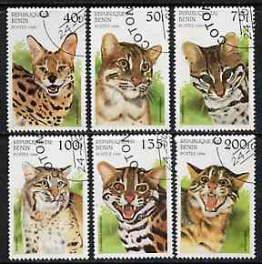 Benin 1996 Wild Cats complete set of 6 cto used, SG 1389-94
