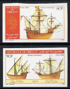 Djibouti 1986 Columbus ships set of 2 IMPERF from limited printing unmounted mint, as SG 977-78