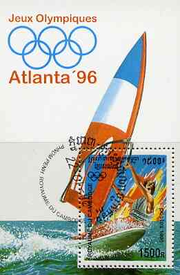 Cambodia 1996 Atlanta Olympic Games perf m/sheet (Wind Surfing) cto used