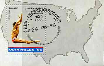 Cambodia 1996 Olymphilex '96 Olympic Games Stamp Exhibition perf m/sheet (Diving) cto used