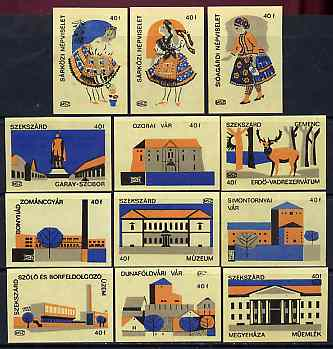 Match Box Labels - complete set of 12 Hungarian Costumes & Buildings (set #3 yellow background) very fine unused condition (Hungarian MSZ series)