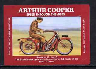 Match Box Labels - 1914 Scott Motorcycle from 'Speed Through The Ages' set of 18, superb unused condition (Arthur Cooper Series)