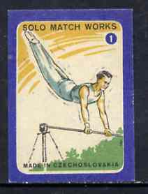 Match Box Labels - High Bar (No.1 from 'Sport' set of 24) very fine unused condition (Czechoslovakian Solo Match Co Series)