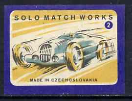 Match Box Labels - Motor Racing (No.2 from 'Sport' set of 24) very fine unused condition (Czechoslovakian Solo Match Co Series)