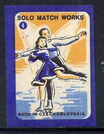 Match Box Labels - Figure Skating (No.4 from 'Sport' set of 24) very fine unused condition (Czechoslovakian Solo Match Co Series)
