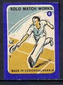 Match Box Labels - Tennis (No.6 from 'Sport' set of 24) very fine unused condition (Czechoslovakian Solo Match Co Series)