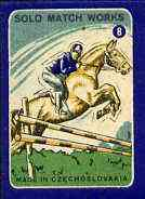 Match Box Labels - Show Jumping (No.8 from 'Sport' set of 24) very fine unused condition (Czechoslovakian Solo Match Co Series)