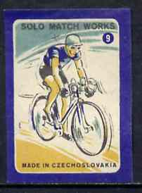 Match Box Labels - Cycling (No.9 from 'Sport' set of 24) very fine unused condition (Czechoslovakian Solo Match Co Series)