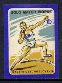 Match Box Labels - Shot Putt (No.10 from 'Sport' set of 24) very fine unused condition (Czechoslovakian Solo Match Co Series)