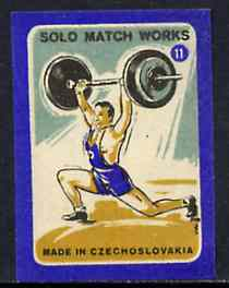 Match Box Labels - Weight Lifting (No.11 from 'Sport' set of 24) very fine unused condition (Czechoslovakian Solo Match Co Series)