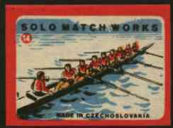 Match Box Labels - Rowing (No.14 from 'Sport' set of 24) very fine unused condition (Czechoslovakian Solo Match Co Series)