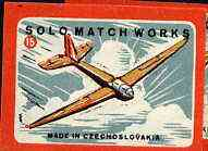 Match Box Labels - Gliding (No.15 from 'Sport' set of 24) very fine unused condition (Czechoslovakian Solo Match Co Series)