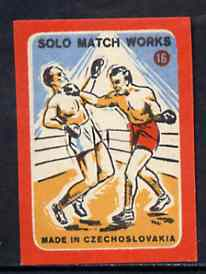 Match Box Labels - Boxing (No.16 from 'Sport' set of 24) very fine unused condition (Czechoslovakian Solo Match Co Series)
