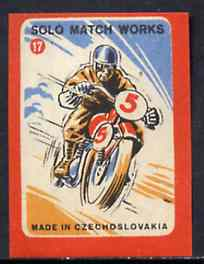 Match Box Labels - Motorcycling (No.17 from 'Sport' set of 24) very fine unused condition (Czechoslovakian Solo Match Co Series)