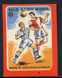 Match Box Labels - Football (No.18 from 'Sport' set of 24) very fine unused condition (Czechoslovakian Solo Match Co Series)
