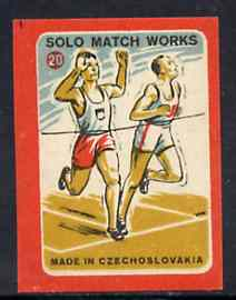 Match Box Labels - Running (No.20 from 'Sport' set of 24) very fine unused condition (Czechoslovakian Solo Match Co Series)
