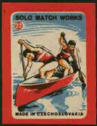Match Box Labels - Canoeing (No.22 from 'Sport' set of 24) very fine unused condition (Czechoslovakian Solo Match Co Series), stamps on canoeing