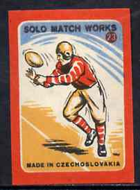 Match Box Labels - American Football (No.23 from 'Sport' set of 24) very fine unused condition (Czechoslovakian Solo Match Co Series)
